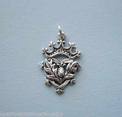 LP2982 Sterling Silver Celtic Symbol Thistle Heart Crown Charm, No Stone
