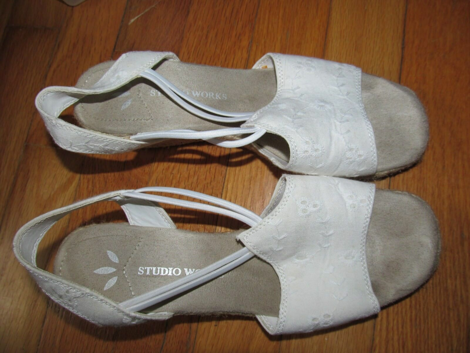 Women's Studio Works Platform White With Twine Look Platform Works Sandal Shoe Size 6.5 EUC f9ee90