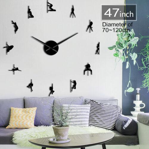 Pole Dance Frameless 3D DIY Moder Design Wall Clock Decoration Gift for Girls