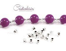 100 perles intercalaire métal couleur plaqué argent 3 mm