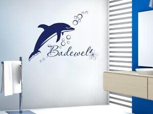 Détails sur Wandtattoo Dauphin Salle de Bain Carrelage Autocollant Mur  Porte Déco Bleu Blanc