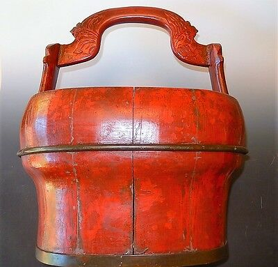 Chinese Rice Bucket Box Painted Red Antique