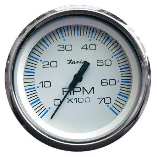 "Faria Beede Instruments 33817 Chesapeake White Ss 4/"" Tachometer 7 000 Rpm Gas"