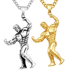 Muscle-Man-Bodybuilder-Dumbbell-Pendant-Necklace-Sports-Fitness-GYM-Jewelry
