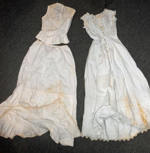2 Antique Ladies White Cotton Day Dresses Circa 19