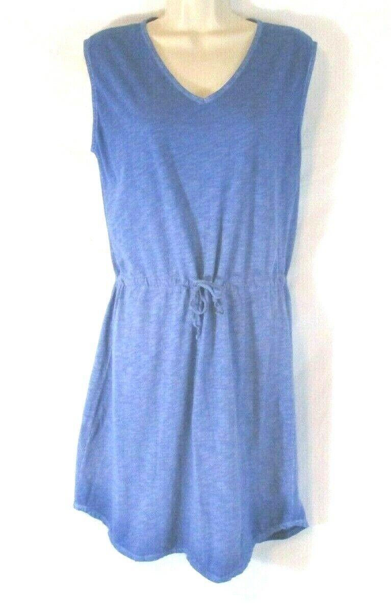 Orvis Sheath Drawstring Dress bluee XS Sleeveless Stretch Summer Casual CBQ19