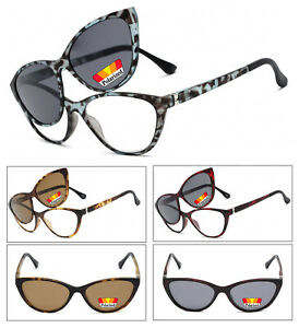 Image is loading Cat-Eye-Frame-Magnetic-Clip-On-Polarized-Sunglasses- 0fcaa7411