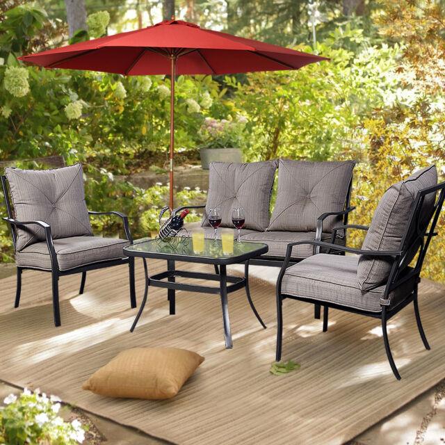 Giantex 4 Pcs Steel Frame Patio Furniture Tea Table ...