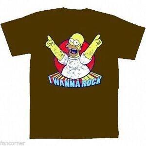 Simpsons-T-Shirt-Ufficiale-Homer-Simpsons-i-Wanna-Roccia-Ufficiale-T-Shirt