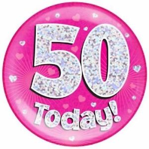 """6/"""" JUMBO PINK 60 TODAY BIRTHDAY BADGE LADIES NEW PARTY HOLOGRAPHIC PIN 60TH"""