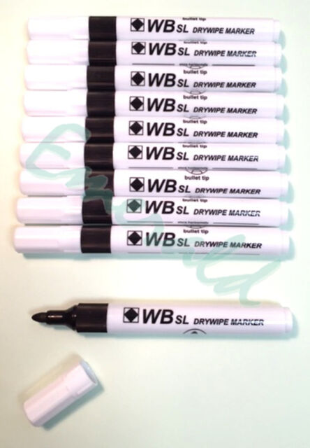 10 x Whiteboard Drywipe Marker Pens Bullet Tip, Colour Choice - Same Day Postage