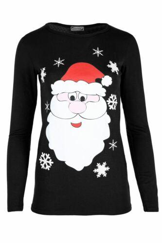 Femme Femmes à manches longues Renne Pudding Flocons De Neige Extensible Noël T Shirt