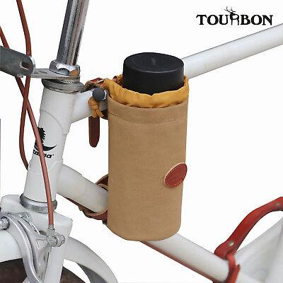 TOURBON Vintage Cowhide Leather Bike Bottle Holder Handlebar Water Cup Holder