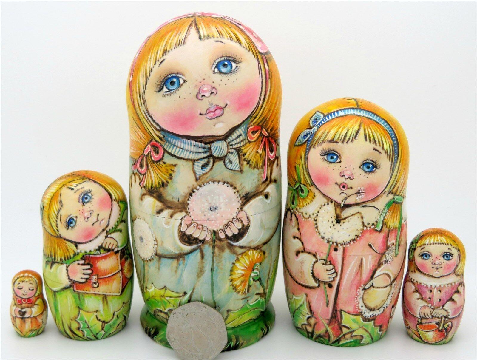 Nidification poupées Russes Matryoshka Babushka 5 pyrogravure filles Chmeleva Exclusive