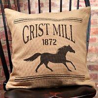 Farmhouse Country Primitive Grist Mill Black Horse Pillow Burlap 16