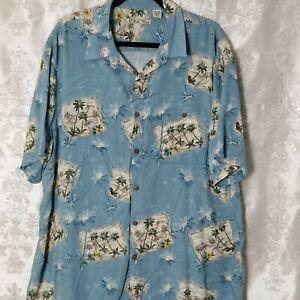 Batik-Bay-Blue-Men-039-s-2XL-XXL-Button-Down-Hawaiian-Palms-Camp-Shirt-Short-Sleeves