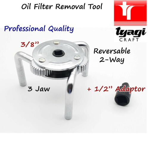Professional Oil Filter Wrench Steel Tripod Reverse 3 Jaw Clamp Auto Garage Tool