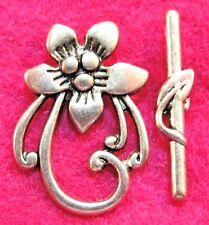 25Sets WHOLESALE Tibetan Silver LG. FLOWER Toggle Clasps Hooks Connectors Q0451