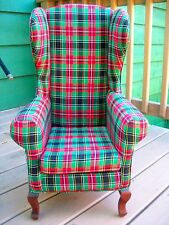 """1997 """"SANTABEAR"""" WING BACK CHAIR - -Queen Anne Wooden Legs, Red & Green Plaid"""