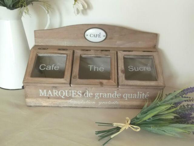 Shabby Chic French Tea Coffee Sugar Storage Box Caddy Chest Wood Vintage Style