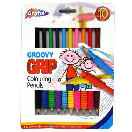 Groovy Agarre Colorante Lápices-Paquete de 10-Paquete de color multi