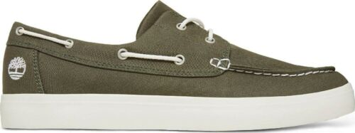 Mens Classic Casual Olive Canvas Timberland 2 eye Boat Deck Shoes Size UK A1Q8H
