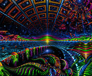 Details About Ultraviolet Neon Blacklight Glow Trippy Psychedelic Art Wall Hanging Uv Tapestry