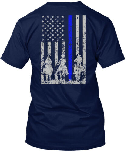 Cowboy Blue Line Hanes Tagless Tee T-Shirt