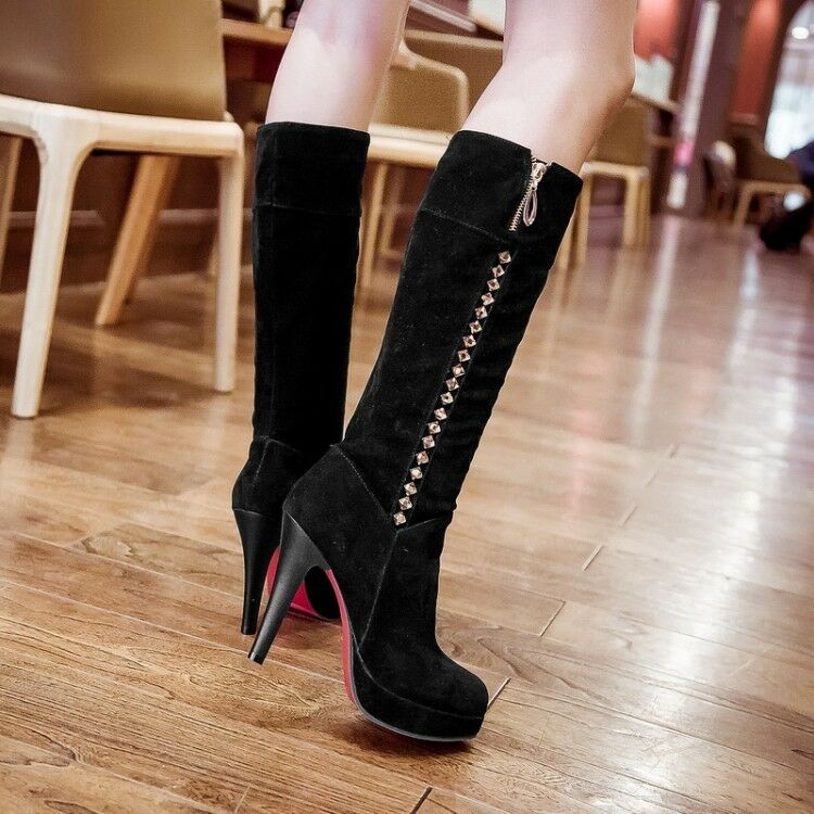 bottes d'hiver d'hiver d'hiver talon 13 cm à mode femme élégante, en daim noir 8949 fefc28