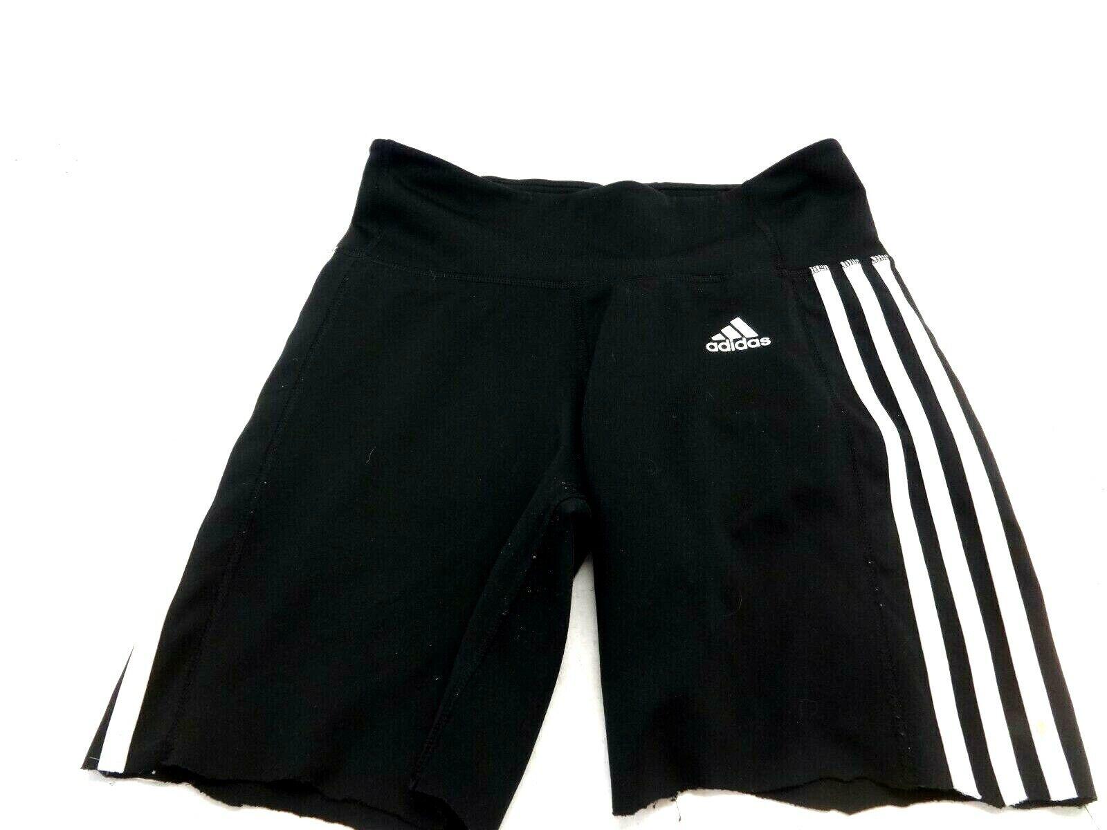 Adidas Damen Schwarz Abgeschnitten Stretch Polyester Athletic Shorts GRÖSSE S