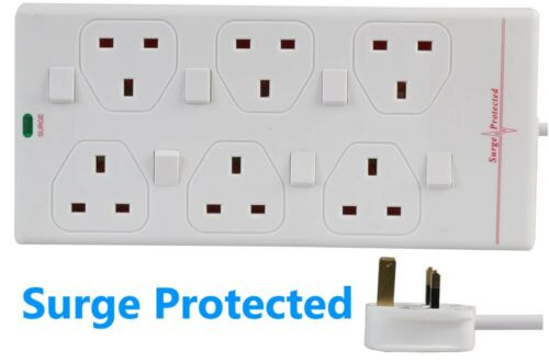 6 Socket SURGE PROTECTED 2m Extension Lead SWITCHED UK Mains Cable Way Gang Led