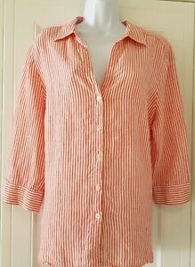 Womens-Jaeger-Red-White-Stripe-3-4-Sleeves-Pure-Linen-Blouse-Shirt-Top-18
