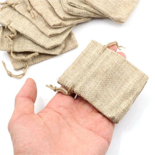 10pcs Small Burlap Jute Sack Linen Pouch Bag Drawstring Wedding SupplNWUS