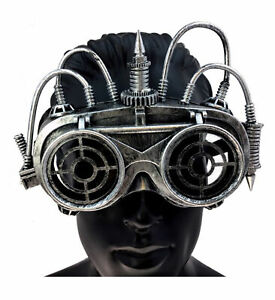 KBW Adult Unisex Steampunk Silver Goggle Mask, Vintage Victorian Style Retro Pun