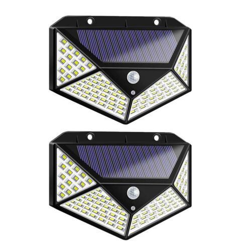 100LED Solarleuchte Gartenlicht Flutlicht Wandlampe Bewegungsmelder Wandleuchte