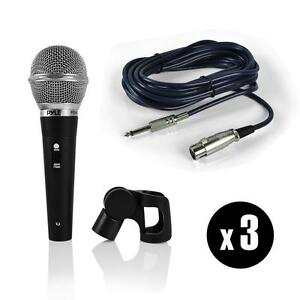 Pyle PDMICKT34 Professional Dynamic Microphone Kit W/ (3) Vocal Handheld Mics