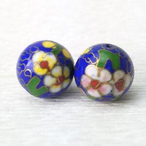 Vintage-Large-Dk-Blue-Pink-Yellow-Flower-Cloisonne-Chinese-Enamel-15mm-2-Beads