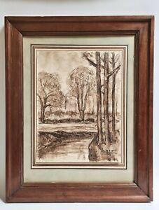 Dessin Original à l'encre Paysage signé ANDRÉ RUFFIN 1898-1981 Artiste Lyonnais