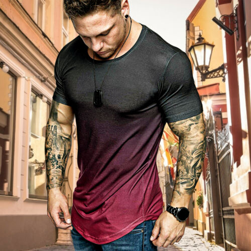 Men/'s Hot Summer Slim Fit Casual Short Sleeve Tops Muscle Gym Tee T-shirt Blouse