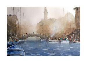 Original-Aquarell-Einzelstueck-Unikat-Gemaelde-impressionistisch-Venedig