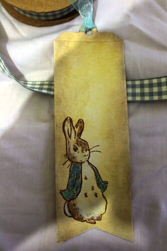 3 Handmade Peter Rabbit Bookmarks Birthday//Baby Shower Favours