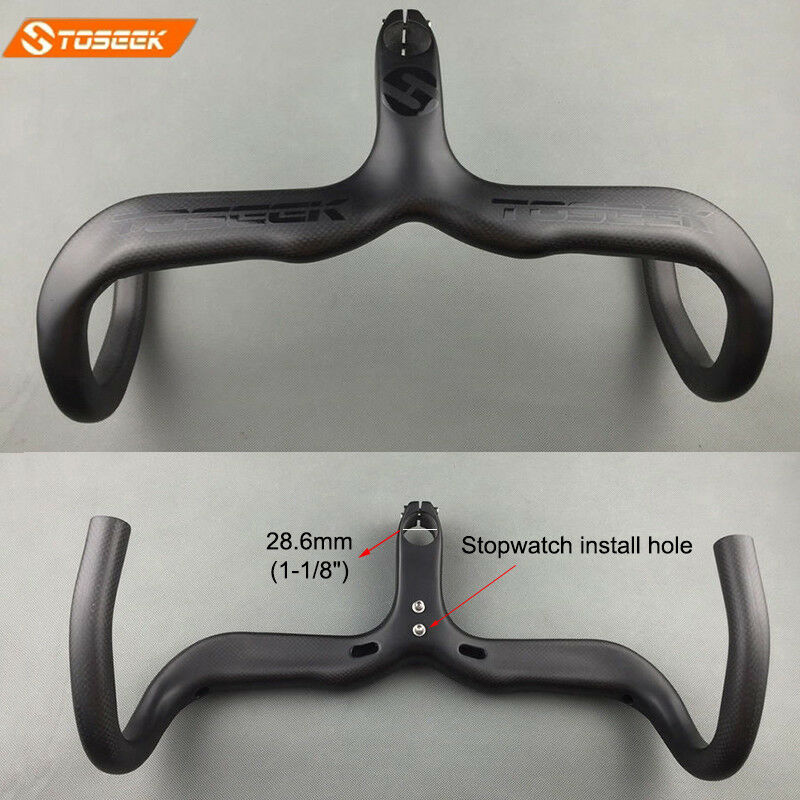 1-1 8  Carbon Road Bike Integrated Handlebar Stem Racing Drop Bar 400 420 440mm