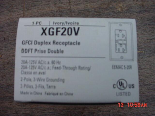 Cooper XGF20V GFCI Ivory Duplex Receptacle 20 Amp 125 Volt   eBay