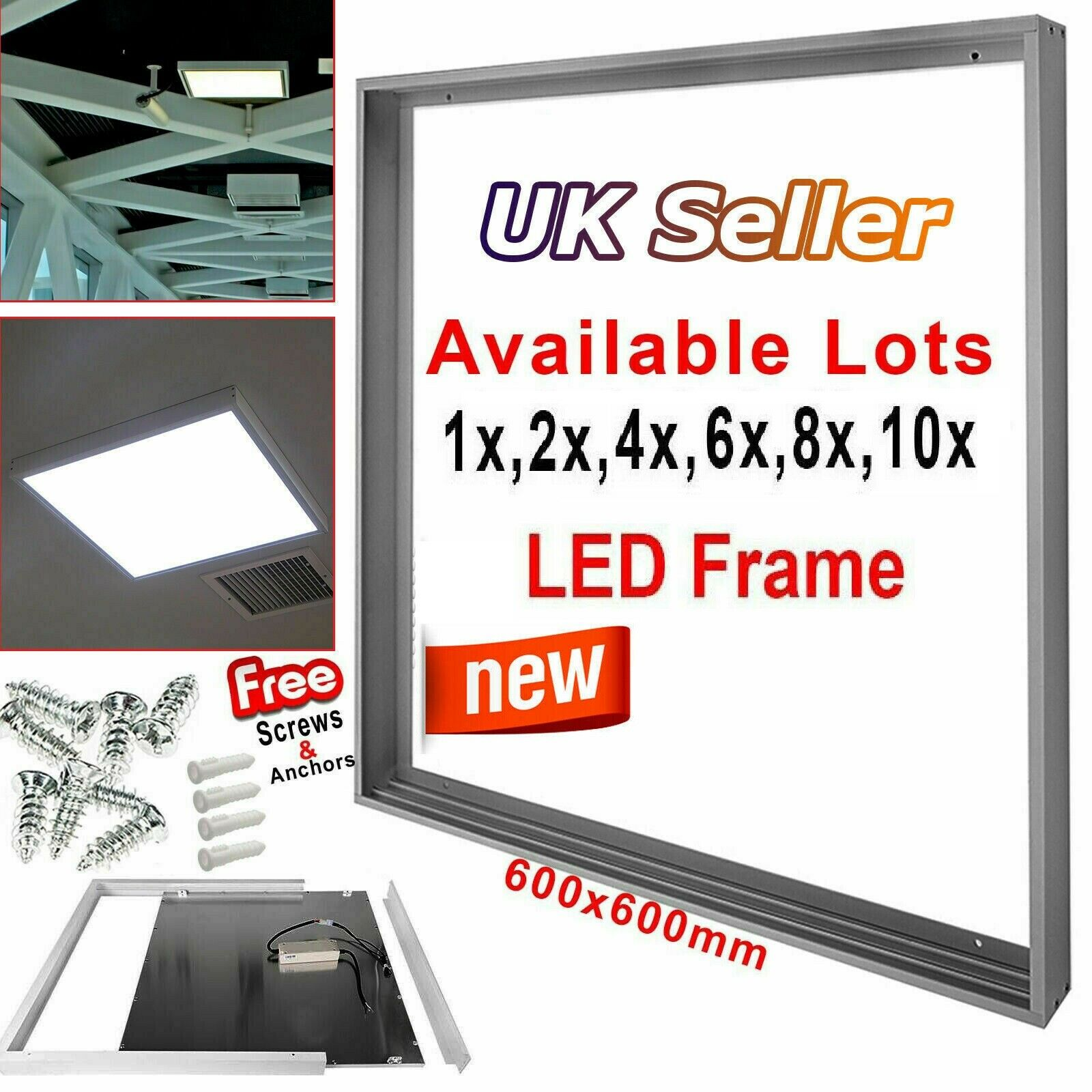 600x600mm Surface Mount Frame Kit LED Panel Light Ceiling Weiß Finish Aluminum