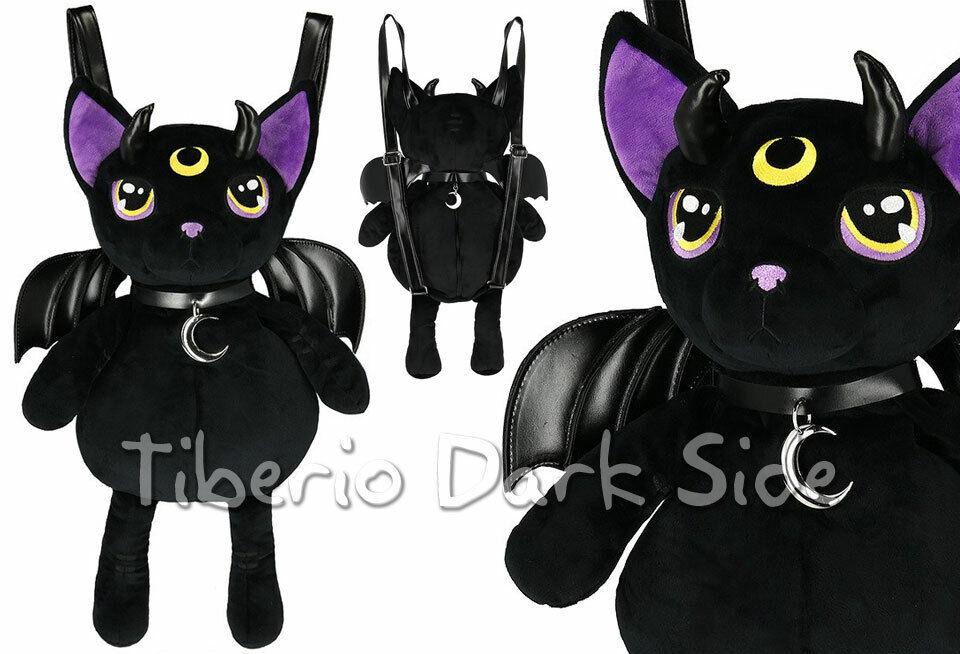 RESTYLE Purple Eyed Black Cat Mascot Moon Choker Goth Plush Bag Backpack