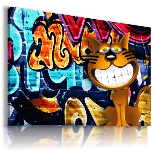 STREET GRAFFITI CAT MODERN DESIGN CANVAS WALL ART PICTURE LARGE AB837 MATAGA .