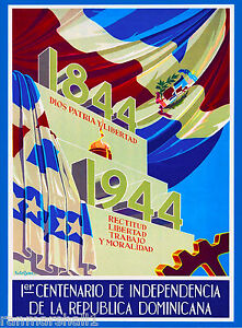 Dominican Republic Anniversary Caribbean Island Sea Travel Poster Advertisement