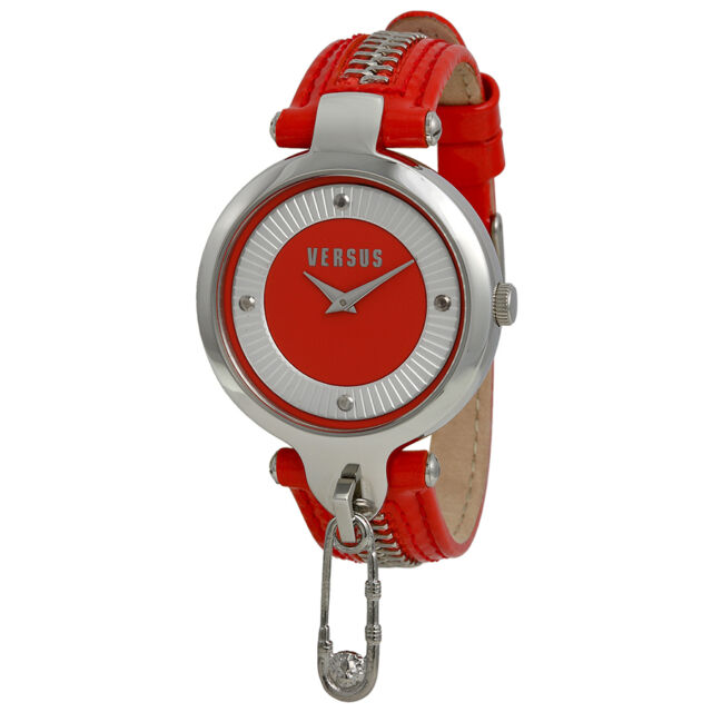 Versus by Versace Key Biscayne Red and Silver Dial Red Leather Ladies Watch