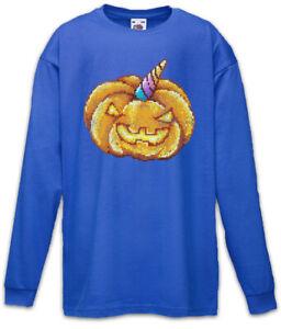 Pumpkin-Unicorn-Kinder-Langarm-T-Shirt-Pixel-Geek-Nerd-Gamer-Fun-Kuerbis-Einhorn