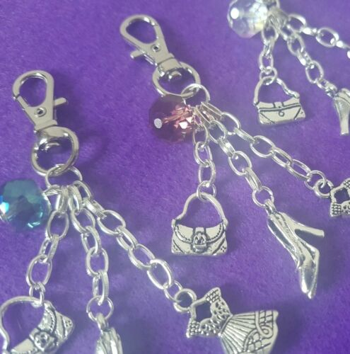 gift bag Fashion Themed Keyring With Dress Bag Shoe Charms Large Gem 3 Colours